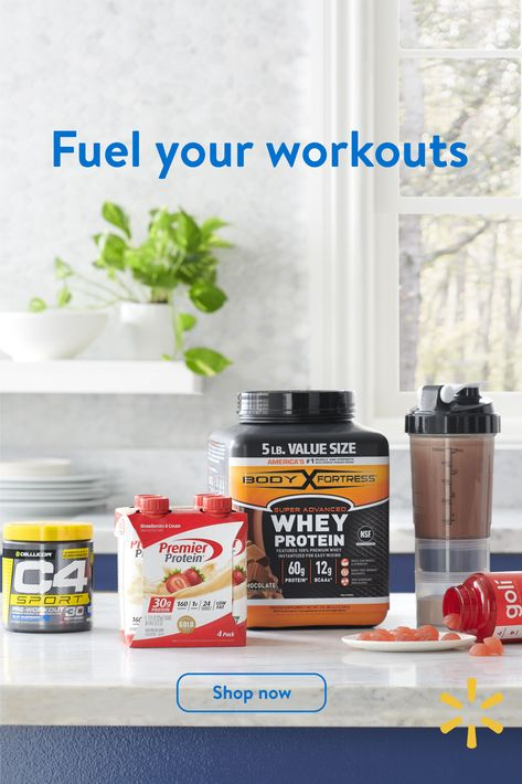 Stay on track with low prices on protein powders  bars, energy boosters,  pre-workout supplements.