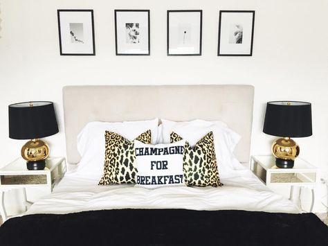 Black & White + Leopard Bedroom #HomeDecor