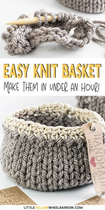 Cute DIY baskets you can knit up quick and easy. This easy craft project requires a single skein of yarn and requires only basic knitting knowledge. A perfect knitting project for beginners. Knit up a few to give away as handmade gifts or to use as small storage baskets in your home. The handmade tags are included and you can download these printables for free. A yarn project you can create in under an hour.