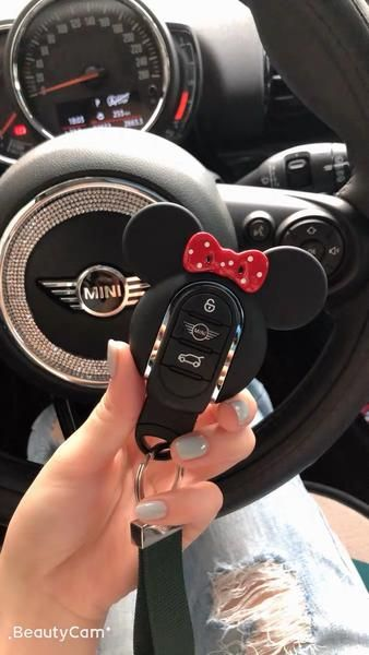 Mini Cooper Mickey Minnie Mouse Inspired Key Fob Cover Case Protector Red Bow More bling your ride car accessories. Other Mini cooper accessories. Mini Cooper Accessories, Bling Car Accessories, Car Interior Accessories, Jewelry Accessories, Fashion Accessories, Interior Mini Cooper, Accessoires Mini Cooper, Mickey Minnie Mouse, Car Interior Decor