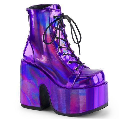 09c919b197c Purple Platform Boots Festival Rave Burning Man Gogo Dancer Shoes size 7 8  9 10