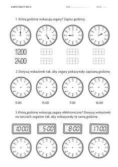 Znalezione Obrazy Dla Zapytania Sprawdzian Zegary Klasa 2