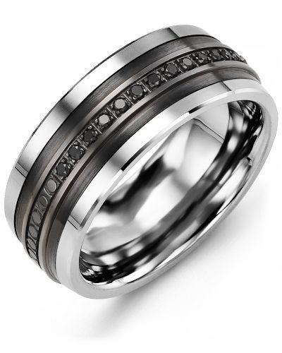 Men S Eternity Black Diamond Wedding Ring In Black Ceramic Black