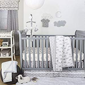 Grey And White Cloud Print 4 Piece Baby Crib Bedding Set By The