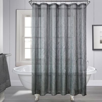 With A Pewter And Charcoal Touch The Royce Shower Curtain Is A Semi Sheer Addition To Your Bathroom That Is Hi Curtains Striped Shower Curtains Shower Curtain