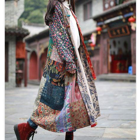Gender:WomenOuterwear Type:TrenchMaterial:Linen,CottonType:Wide-waistedPattern Type:PatchworkSleeve Length(cm):FullStyle:CasualClosure Type:Single BreastedDecoration:Vintage,Button,Pattern,PocketsCollar:Mandarin CollarClothing Length:LongFabric Type:BatikColor:Vintage,Yellow,RoseSize:Free size/One sizeSeason:Spring,Aut