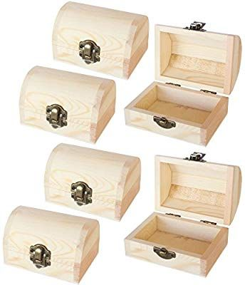 Amazon Com Juvale Unfinished Wood Treasure Chest 6 Pack Wooden Treasure Boxes Locking Clasp Diy Pro Diy Wooden Jewelry Box Small Jewelry Box Jewelry Box Diy