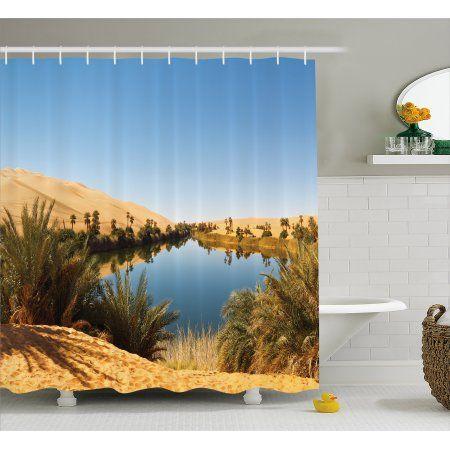 Desert Shower Curtain Idyllic Oasis Awbari Sand Sea Sahara Libya