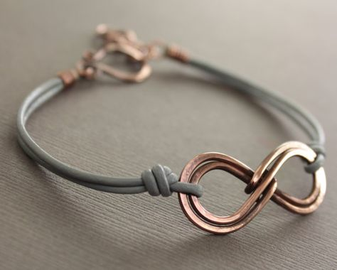 Unisex double infinity copper bracelet with gray by IngoDesign