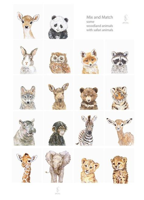 Animal Portrait Set of 6, Giclee, Playroom art, Baby Animal Prints, Baby Lion, Giraffe, Zebra, Fox,