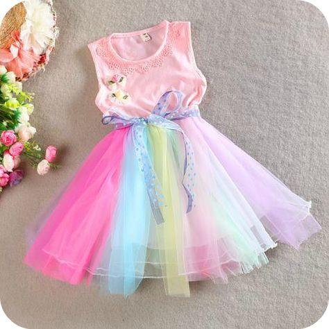 e87c57caa Pink Rainbow Tulle Dress