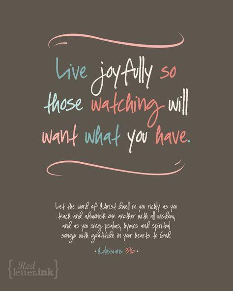 Wall Art (LifePrints) - Live Joyfully (chocolate, teal, pink, creme) Colossians 3:16 - 8 x 10 Print