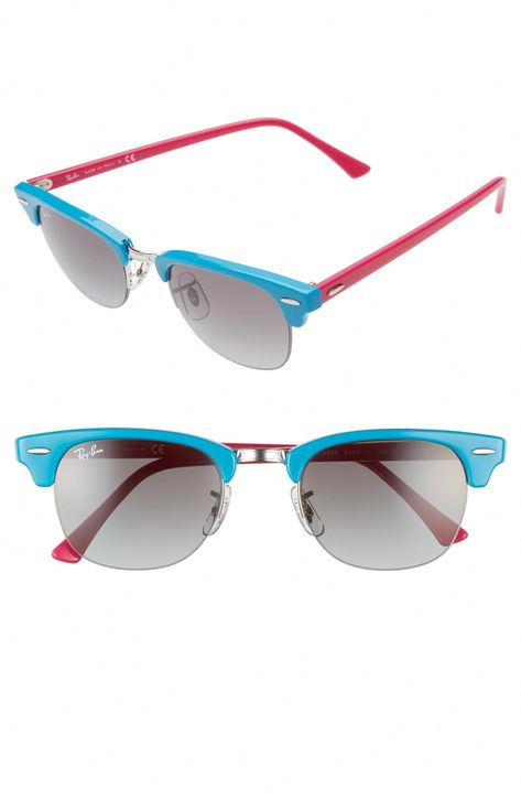 Women's Ray-Ban 48Mm Gradient Clubmaster Sunglasses - Turquoise Gradient #fashionforwomenover50inspiration