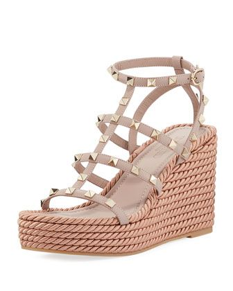 Rockstud Caged Wedge Sandals by