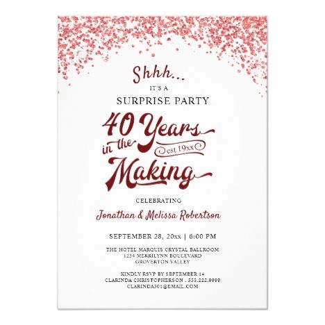 40th Anniversary Surprise Party Ruby Red Confetti Invitation Zazzle Com Confetti Invitation Anniversary Surprise Surprise Party