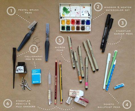 Materiales y proceso ilustración