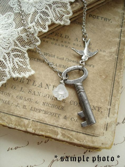 Antique Skeleton Key Necklaces. Rustic Wedding Jewelry. Vintage Key Necklace with Flower and Bird. Garden Wedding.