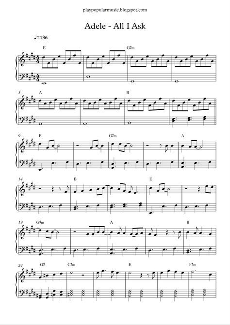 All I Ask Adele With Images Piano Sheet Music Free Piano