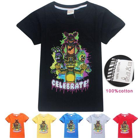 FNAF Five Night At Freddy Kids Boy Girl cotton short sleeve summer t shirts Tops