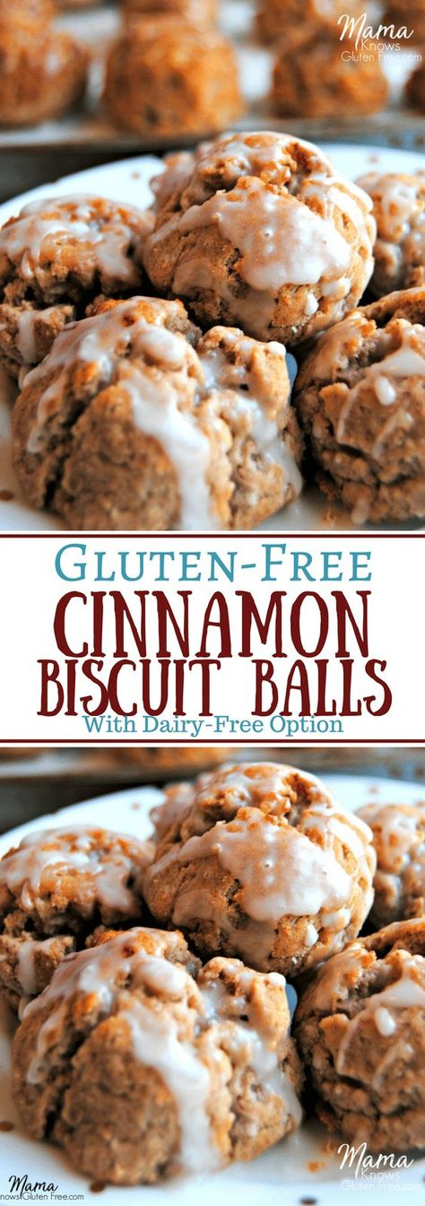 call these Cinnamonies around our house. Gluten-Free Cinnamon Biscuit Balls are a quick and easy special breakfast treat. These mini cinnamon biscuits are a super easy to make. Dairy-free option too. Dairy Free Breakfasts, Gluten Free Recipes For Breakfast, Gluten Free Sweets, Gluten Free Baking, Easy Gluten Free Cookies, Dairy Free Treats, Gluten Free Breakfast Casserole, Dairy Free Muffins, Gluten And Dairy Free Desserts Easy