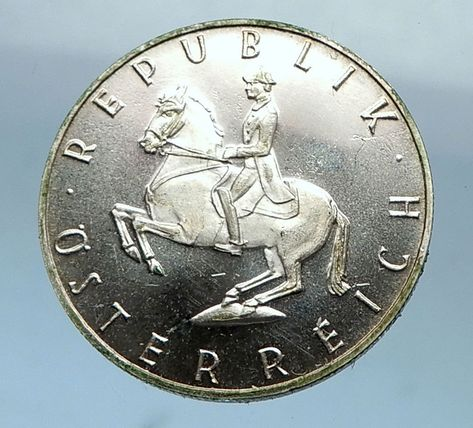 1964 Austria 5 Schilling Silver Coin Lipizzaner Stallion Horse