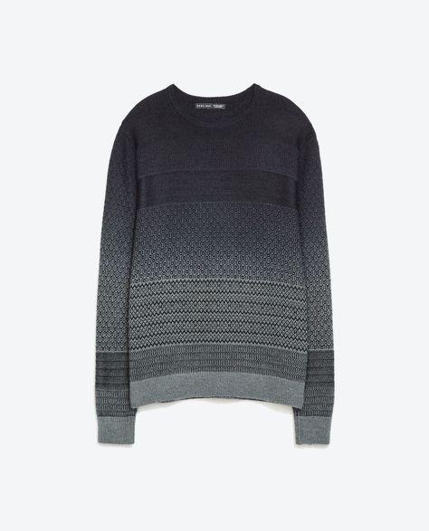 Ombre Patterned Jumper   Zara