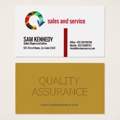 Quality Assurance Sales Rep Business Card Customized Designs Custom Gift Ideas Printing Business Cards Diy Business Cards Personal Business Cards