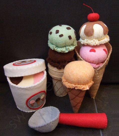 Felt Play Food Pattern Ice Cream Set PDF DIY by sweetemmajean More