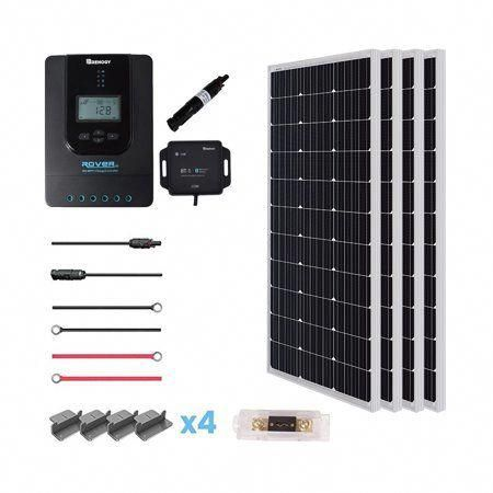 Renogy 400 Watt 12 Volt Off Grid Solar Premium Kit With Monocrystalline Solar Panel And 40a Mppt Rove In 2020 Solar Kit Monocrystalline Solar Panels Solar Panel System