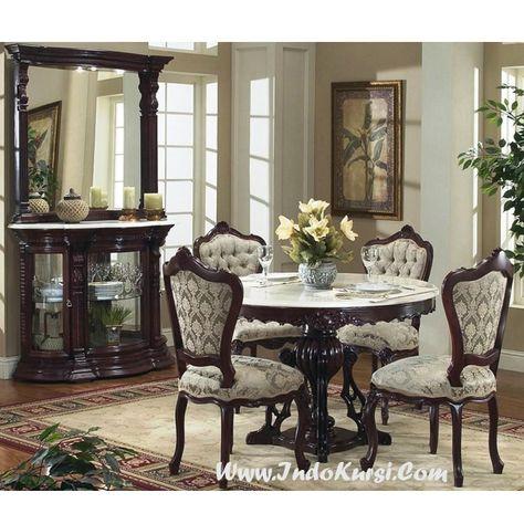 kursi makan jati meja bundar ik-028   ruang makan, set