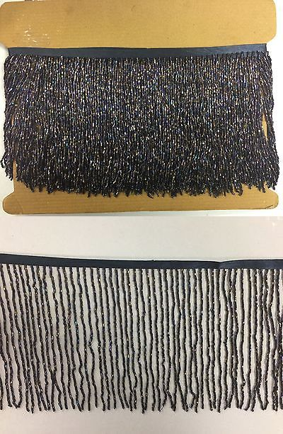 "5yd Bolt-6/"" Glass BLACK AB//BUGLE Seed Beaded Fringe Lamp Costume Trim IRIDESCENT"