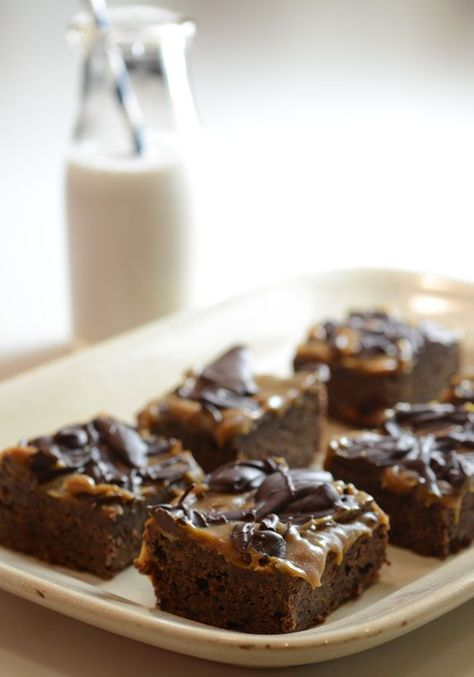 Paleo Caramel Brownies brownie recipe: . caramel sauce recipe: . chocolate ganache recipe: .