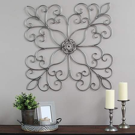 Silver Square Medallion Scroll Wall Plaque Medallion Wall Decor