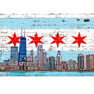 Chicago Flag Skyline Chicago Flag Art Chicago Flag Watercolor City