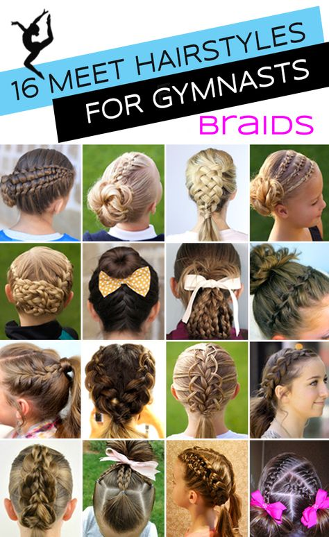 16 Gymnastics Hairstyles (braids edition) for Competition Day from some of the best hairstyle bloggers! | Tutorial Links | #gymnasticshairstyles