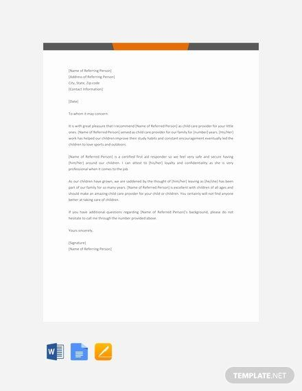 Letter Of Recommendation Child Care Inspirational 95 Free Letter Reference Templates Letter Of Recommendation Lettering Business Template