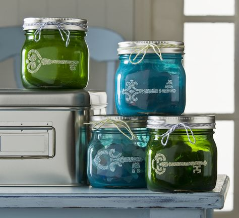 Use Mod Podge Sheer Colors to tint pint sized mason jars, then add glitter shapes to the outside with stencils. This is a great organization craft!