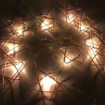 Guirnalda De Luces Led Cálidas Con Diez Apliques De Metal Con Forma De Estrella En Color Rose Gold Lleva Dos Estrellas De Metal Guirnalda De Luces Guirnaldas
