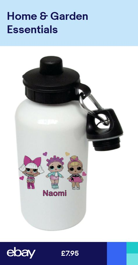 "Personalised child/'s water bottle 500ml custom made /""lol dolls/"""
