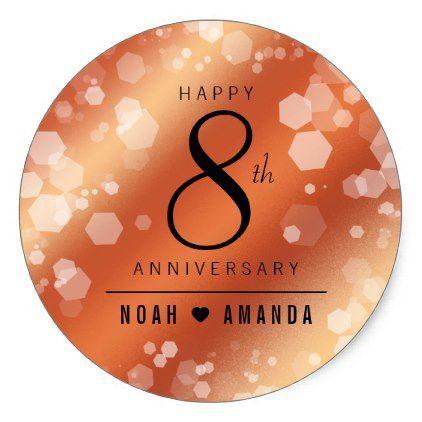 Elegant 8th Bronze Wedding Anniversary Celebration Classic Round Sticker Confetti Bronze Wedding Anniversary Wedding Anniversary Celebration Wedding Gift Diy