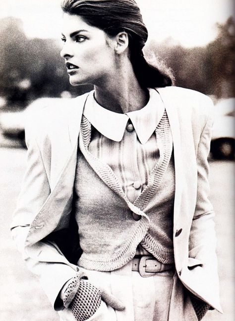 50 Wildly Cool Styling Tips From Vintage Vogue Editorials via Linda Evangelista photographed by Peter Lindbergh for Vogue, December 1987
