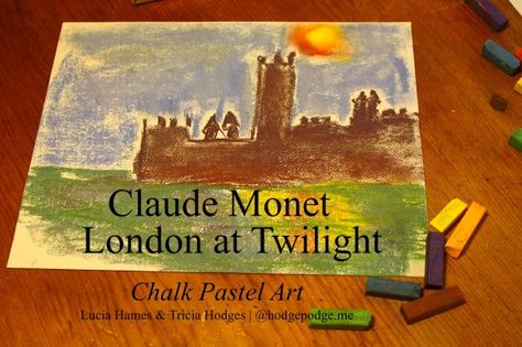 Claude Monet London at Twilight Chalk Pastel #Art Tutorial www.hodgepodge.me