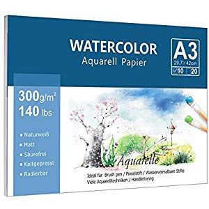 Premium Aquarellpapier A3 300 G M 10 Blatt Lelengder Aquarellblock
