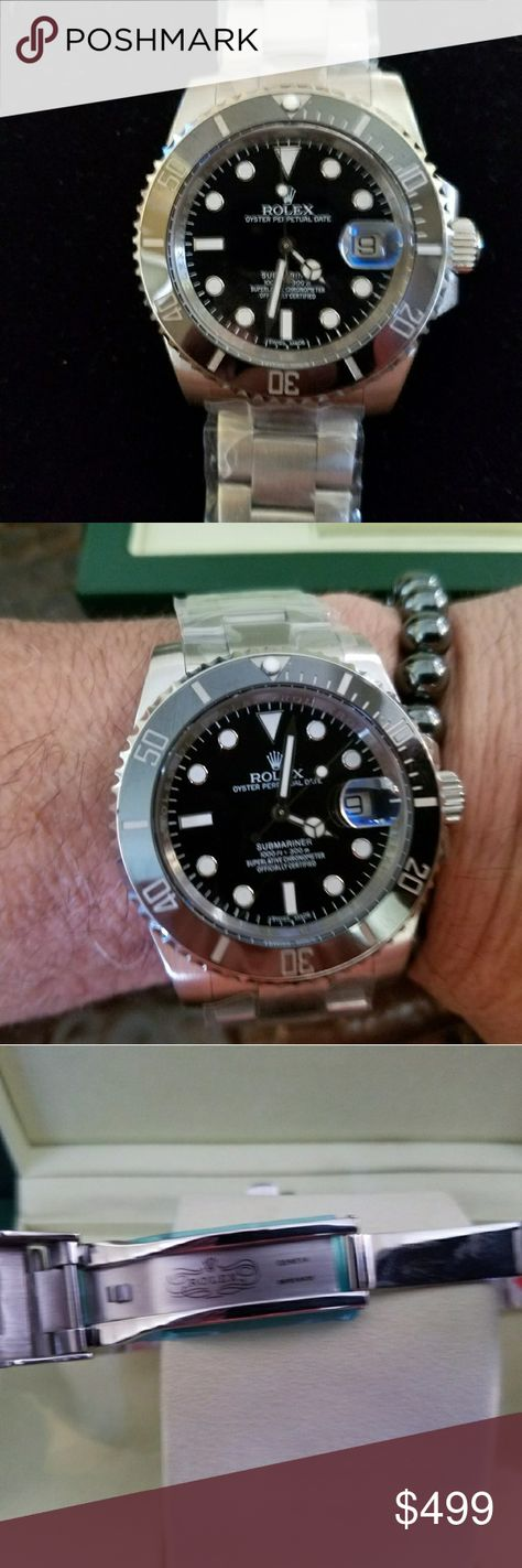Rolex Submariner Beautiful Rolex Submariner watch, amazing production with every intricate detail on this AAA watch. Has Japan ETA (Swiss movement). 316L stainless steel, sapphire glass, 10atm water resistant (not waterproof). I have worn this exact watch for 3 months to make sure it is exactly as I state. This watch is for someone who wants a Rolex but can't afford to pay over $10,000. Box can be bought in a separate listing. Please don't ask the obvious. No trades. PRICE FIRM. Rolex…