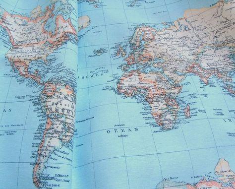 Stoff Mit Weltkugel Landkarte Weltkarte Braun Von Lollipops For