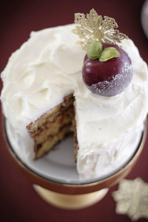 sugar plum fruitcake with cream cheese buttercream; bourbon-plumped ...