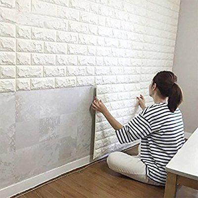 Amazon Com 10pcs 3d Brick Wall Stickers Pe Foam Self Adhesive Wallpaper Removable And Waterproof Art Wall T White Brick Wallpaper White Paneling Brick Design