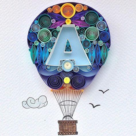 Quilled Hot Air Balloon by Sena Runa of Turkey