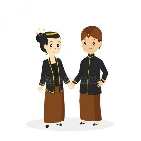 Javanese Traditional Wedding Dress Vector Illustration