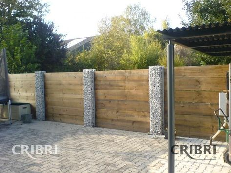 Duck Rd property Gabion pillar front fence Designed by Landscape